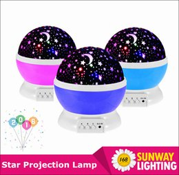 Wholesale 2015 Newest Rotation Night Light Starry Star Moon Sky Romantic Night Projector Light Lam Decorating Wedding Birthday Parties