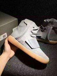 Acheter en ligne Lumières bottes-750 Boost Light Grey Glow In The Dark Bottes en cuir Kanye West Chaussures de sport pour hommes (avec des boîtes de sacs à poussière de lacets de réception)
