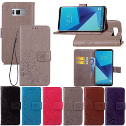 Imprint Lucky Clover Flower Wallet Leather For LG G6,Galaxy S8 S8 Plus Card Slot Money Pocket Flip Cover +TPU Case Skin Strap Stylish Floral