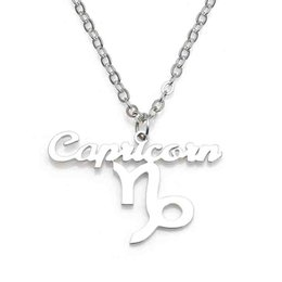 New Capricorn Pendant Necklace 304 Stainless Steel 12 Constellations Necklaces Link Chain Women Charm Jewelry Wholesale Drop Shipping