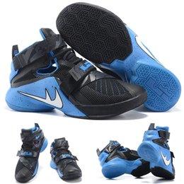 Cheap Sale Vente en gros Hot Air Air LeBron Zoom Soldier 10 James Black Blue 749420-014 Men's Blacketball Shoes EUR 40-46 à partir de soldats lebron noir fabricateur