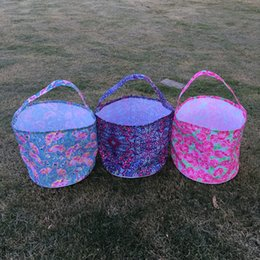 Wholesale Blanks Flamingo Boho Rose Pattern Easter Buckets Easter Tote Bag Polyester Material DOM103432