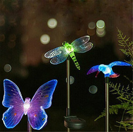 Solar Stake Light Outdoor Hummingbird, Butterfly & Dragonfly Solar Garden Light with Color Changing LED Light for Pathway Lawn Yard Decor