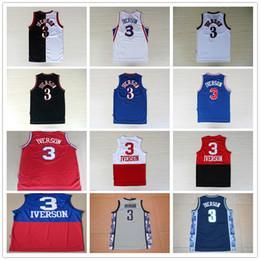 Promotion maillots de sport 100% cousu # 3 Pour Allen Iverson jersey Cheap Retro Allen Iverson Jerseys sport de Retour Noir Rouge Blanc Bleu S-XXL