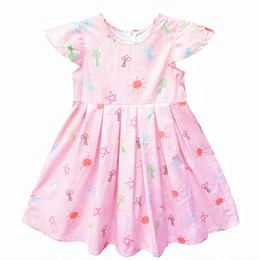 kseniya kids Floral Pattern Lovely Soft Girls Summer Dresses Wedding Girl Dress For Kids 100% Cotton Pink Flower Girl Dresses For Weddings