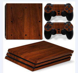 Pure Wooden Style Front&Back Vinyl Skin Sticker for Sony PS4 Pro Console + 2 PCS Controller Cover Skin Stickers