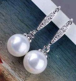 Hot sell round 9-10mm south sea white pearl earrings 925 silver