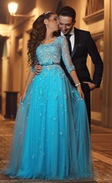 Elegant Blue Lace Arabic Evening Dresses Half Sleeves A-line Tulle Prom Dresses Vintage Cheap Formal Evening Gowns