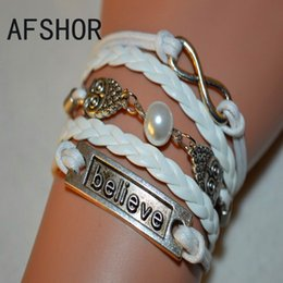 New 2017 Fashion Women Men Owl Bead Believe Infinity Charm Bracelet Bangles Luxury White Multilayer Leather Wax Cord Wristband Cuff Jewelry