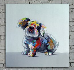 Wholesale Hand Painted Puppy Dog Picture Art Prints Friendly Family Member Decorated Animal Canvas Painting for Home Wall Decoration