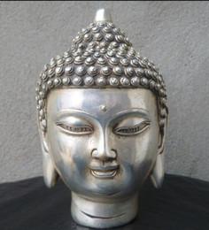 "5"" Chinese Tibetan Buddhism Silver Bronze Shakyamuni Buddha Head Statue"