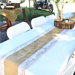 Wholesale Burlap Table Runner Cloth Wedding Decoration Natural Jute Linen DIY Sisal Chair Sashes Decor Rustic Home Party Supplies x275cm