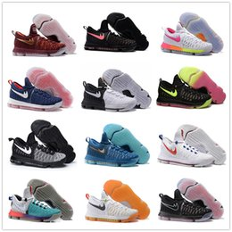 2017 kd chaussures de vente mens 2017 Hot Sale KD 9 Chaussures de basket-ball pour homme KD9 Oreo All Black Wolf Kevin Durant 9s Chaussures de sport pour hommes Sports Warriors Accueil US Taille 7-12 kd chaussures de vente mens promotion