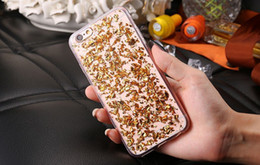 Bling Glitter Goldleaf Gold Foil Soft Transparent TPU Cover Case For iPhone 5S 6 6S Plus Samsung S6 S7 Edge