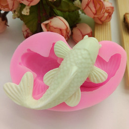 Wholesale Fish Silicone Fondant Cake Mold Soap Mold Chocolate Candy Mould Moulds DIY Decorating Baking Pink Kitchen Tools