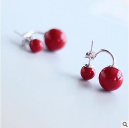 925 sterling silver Korean coral red simple temperament dual earrings the size of shellfish earrings female