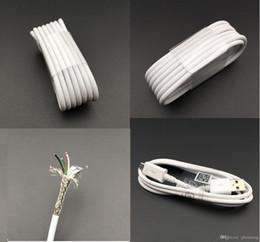 Wholesale AAAA Haut Qualité Original Blanc Micro Câble USB M FT Data Sync Charging Cord Chargeur Fil de ligne pour téléphone Samsung S4 S6 S7 i7 i6 i5