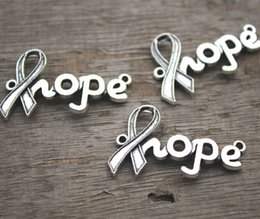 12pcs--Hope charms, Antique Tibetan silver Cancer Ribbon hope Charm Connectors 38x23mm