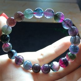 Wholesale High Quality Natural Mix Colorful Purple Pink Blue Watermelon Tourmaline Multi color Stretch Bracelet Round Big Beads mm