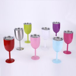 10oz Double Layer Stainless Steel Insulation Cup Goblets   Red Wine Cocktail Cup Insulation Shelf Cover