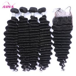 5Pcs Lot Brazilian Deep Wave Curly Virgin Hair With Closure Brazilian Deep Curly Human Hair Weaves With Lace Closures Remy Hair Extensions