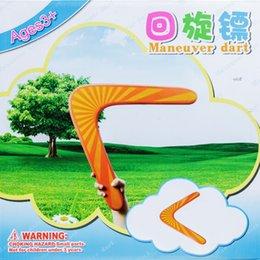 Promotion voler v Grossiste-Classique Bois Boomerang V forme Frisbee Flying Saucer Toys 40 mètres Jouets d'extérieur pour enfants