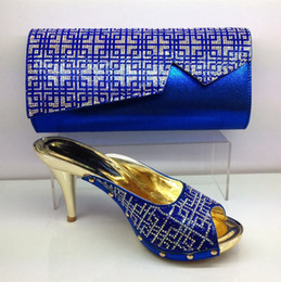 Wholesale 2017 Italian Shoes With Matching Bags For Party High Quality African Shoes And Bags Set for Wedding in Royal Blue
