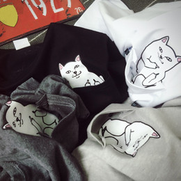 Wholesale women s T Shirt Pocket Cat Fashion New Clothing T shirt Women Casua Short Sleeve Printed Tops Female Funny Clothing Hip Hop Style NvTx09 R3