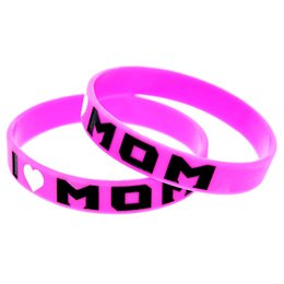 Wholesale 100PCS Lot Ink-Filled Logo I Love Mom Silicone Rubber Wristband Fashion Bracelet Pink Adult Size