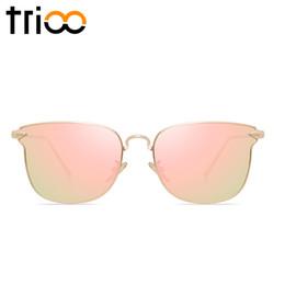 Acheter en ligne Or gros cadres lunettes-Vente en gros-TRIOO miroir rose or lunettes de soleil pour les femmes de luxe marque or Oculos femmes cool haute mode de rue en métal lunettes de soleil