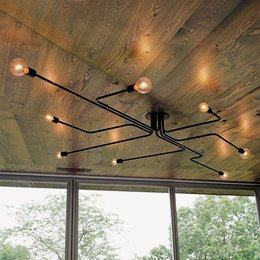 Industrial Style Retro Wrought Iron 6 Light 8 Light Exposed Edison Bulb Large Indoor Semi Flush Ceiling Light Lamp in Black Finish