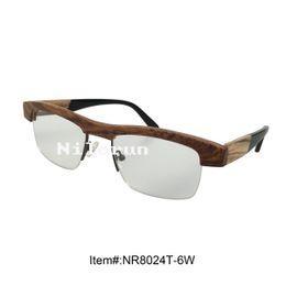 fashion half frame zebra wood optical eyeglasses