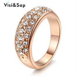 Visisap Rose Gold color Round ring wedding bands fashion Jewelry luxury Rings for women cubic zirconia Accessories V18KR007