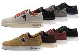 Wholesale 2016 New Men s Original quality Falcons Skateboarding Shoes For Men America Football Sneakers Casual Low Top Classic sport shoes Free Ship
