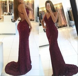 2018 Sexy Long Burgundy Prom Dresses Mermaid Spaghetti Straps Backless Formal Evening Party Gowns Custom Made
