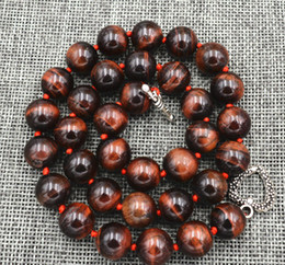 "eautiful 12MM Red tiger's-eye beads necklace 18"" Tibetan silver love clasps"