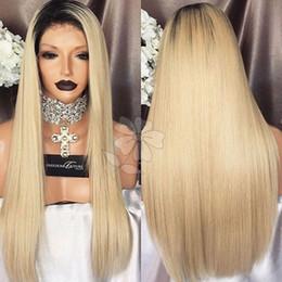 Descuento resistente para el cabello de calor De primera calidad sedoso Straight Sintético Lace Front Peluca Ombre Blonde Hair Glueless Peluca Resistente al Calor Sintético Lace Front Peluca Para Negro Mujeres