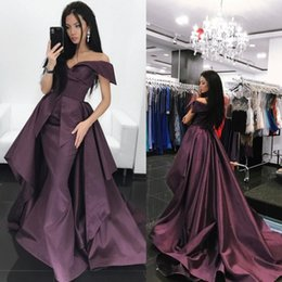 Fashion Taffeta Dresses Evening Wear Off Shoulder Mermaid Formal Gown Sweep Train Pleats Red Carpet Dress