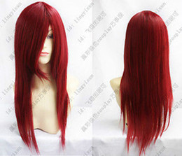 New Long Dark Red Cosplay Party Straight Wig Harajuku Style Wig Free Shipping