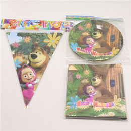 Wholesale Birthday Party Towels Decoration Masha Bear Kids Favors Napkins Paper Plates Flags Happy Baby Shower Banner Supplies
