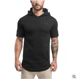 Free Shipping US Size M-2XL High Quality The muscle brothers' spring summer 2017 men's hooded hoodie with a short sleeve T-shirt