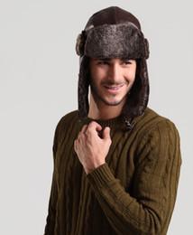 2017 sombreros trampero Winter Warmer PU Trapper Bombardero sombreros invierno adulto caliente Earflap ruso Snow Ski Caps para hombres y mujeres sombreros trampero en oferta
