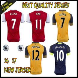 2017 maillots de sport 2016 2017 Nouveau maillot de football ALEXIS GIROUD OZIL WALCOTT XHAKA maillot de football de qualité thaïlandaise Jeresys 16 17 sports chemises de football Arsenaux maillots de sport autorisation