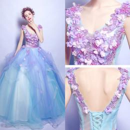 Vintage Evening Dresses Romantic V Neck Sleeveless Flower Appliques A Line Sky Blue Formal Party Prom Dresses