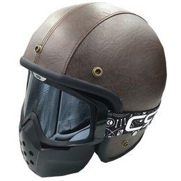 Cascos de moto de época en Línea-2017 Nueva máscara de los anteojos de la motocicleta del tiburón para la motocicleta retra del casco de la máscara de la vendimia de la moto del casco Gafas de motocrós