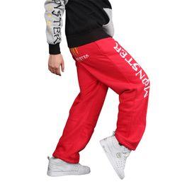 Desconto comprimento cintura quadril Atacado- Men Primavera Outono Loose Calças Casual Estilo Baggy Hip-Hop cintura elástica Full-Length respirável Streetwear 3 cores Sweatpants