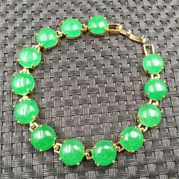 China full of beautiful emerald green Malay jade green jade quartzite round face bare stone mosaic alloy plated 24K bracelet bracelet female