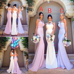 2018 Mermaid Bridesmaid Dresses One Shoulder Sleeveless Satin Prom Gowns Sweep Length Button Back Bridesmaids Dress