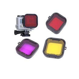 gray Red Yellow Purple Polarizer Underwater Diving UV Lens Filter for GoPro Hero3+