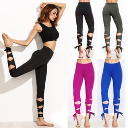 2017 Fashion Woman Yoga Fitness Pants GYM Dance Ballet Tie Wrap Bandage ActiveTight Winding Leggings Trousers 2colors